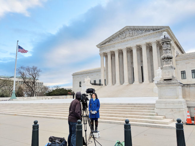 Spectrum News NY1 reporter Samantha-Jo Roth reporting live from the line in front of the Supreme Court.
